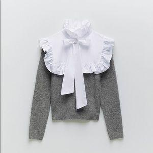 NWT Zara Ruffle Bow Sweater Size Small